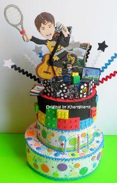 Lego theme Birthday Cake topper with look alike boy www.kharygoart.com