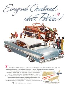 Pontiac Ad (April, 1957) - Super Chief 4-Door Catalina - Everyone's Overboard about Pontiac!
