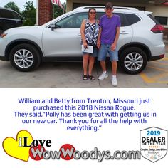 William and Betty found a car that matched their outfit, now they're ready to hit the road in style! Congratulations! 🎉 #wow #wowwoodys #woodysautomotive #cars #trucks #suvs #carsforsale #trucksforsale #suvsforsale #kansascity #chillicothe #customerreviews #customertestimonials #wowcarbuying #carshopping #happycustomers #2018nissanrogue #2018nissan #nissanrogue #nissan #rogue