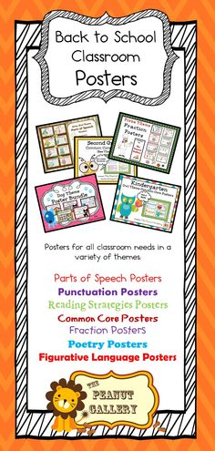 Jazz up your classroom decor with Back to School Poster Shopping at The Peanut Gallery...A variety of posters for your classroom in many different themes ($)