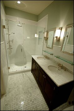 bathrooms - Basketweave Marble Tiles Urban Archaeology Loft Light Restoration Hardware Lugano Faucet Set Restoration Hardware Vintage Glass Shelf Restoration Hardware Framed Inset Medicine Cabinet restoration hardware mirrors sconces subway tiles frameless shower white carrara countertops espresso vanity double sinks