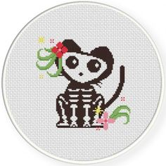 Skelly The Cat Cross Stitch Illustration
