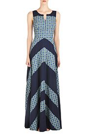 Chevron Stripe Colorblock Maxi Dresses, Cotton Poplin Sleeveless Colorblock Dresses Women's designer dresses - Day dresses, casual dresses, maxi dresses, caftans - CL0037227   eShakti