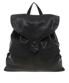Leather Backpack with Tab Detail from ASOS