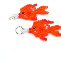 Gold Fish Charm  Seed Bead Jewelry  Peyote Stitch by BeadCrumbs, $3.25