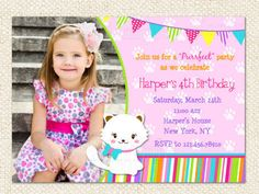 Kitty Cat  Birthday Invitations by LollipopPrints on Etsy https://www.etsy.com/listing/119821417/kitty-cat-birthday-invitations