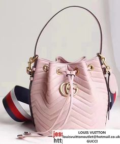 04486bd251802 Gucci GG Marmont Quilted Leather Bucket Bag With Sylvie Web Strap 476674  Pink 2017 Luxustaschen