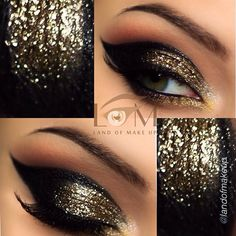 Augen Make-up Glam Gold 51 Ideen - - Prom Makeup For Brown Eyes Black And Gold Eyeshadow, Black Eye Makeup, Glitter Eye Makeup, Gold Makeup, Kiss Makeup, Cute Makeup, Prom Makeup, Bridal Makeup, Makeup Looks