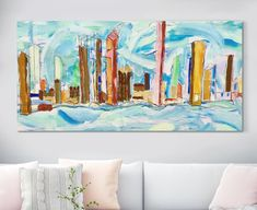 """ORIGINAL Abstract Painting on Canvas, Expressive Landscape, Home Wall decor, Wall art, Canvas Art, Modern Painting, Bedroom Decor 19"""" x 37"""" by Fagaart1 on Etsy"""
