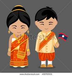 Laotians in national dress with a flag. A man and a woman in traditional costume. Travel to Laos. Welcome to Laos. People. Vector flat illustration.