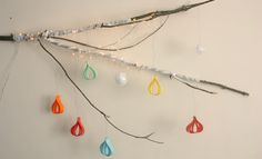 Christmas Crafts - 3D paper ornaments... We did this with ribbon looks great with white lights