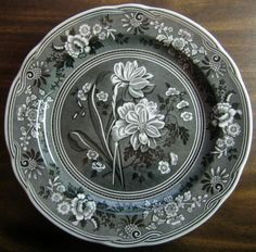 Decorative Dishes - Grey Black Toile Transferware Daffodil Exotic Plate, $34.99 (http://www.decorativedishes.net/grey-black-toile-transferware-daffodil-exotic-plate/)