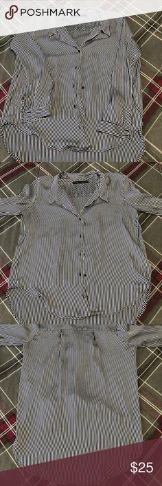 96651bfac4300 Blue Stripes Blouse Zara Basic -Excellent Condition -Stripes design -Long  Sleeve -Greta
