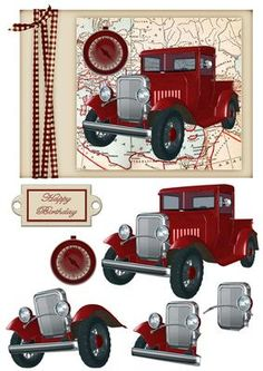 Red Vintage Truck on Craftsuprint designed by Deborah Davies - Red vintage truck on a cardfront with decoupage and text plates. Please click on my name for more designs added daily. - Now available for download!