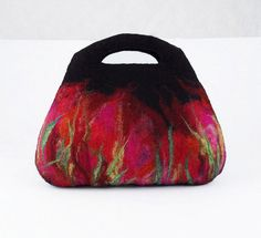 Felted Bag Art Handbag Artistic Purse red wild Felt Nunofelt ruby Nuno felt Silk black fairy multicolor floral fantasy Fiber Art boho
