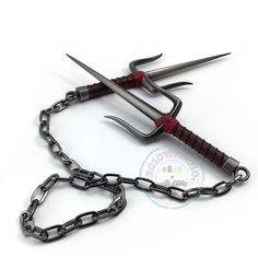 Teenage Mutant Ninja Turtles Raphael Weapon Sai double dagger Metal model Knife #Unbranded