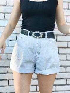 Vintage High Rise Shorts / Khakis Shorts / Pleated Shorts / Shorts / Monochromatic Neuatral / Size 30 by itsMagari on Etsy Pleated Shorts, Khaki Shorts, Denim Skirt, White Shorts, 90s Shorts, High Rise Shorts, Summer Breeze, Vintage Wear, Khakis