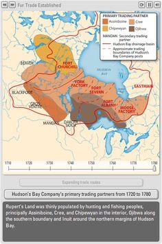 The Canadian Atlas Online – Fur Trade - Historical Atlas of Canada Canadian History, American History, Ontario Curriculum, Fur Trade, O Canada, Colonial America, Schools First, Hudson Bay, History Photos