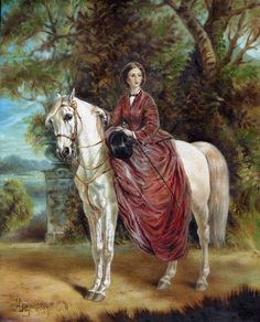 Equestrian Original Oil Painting Of A Dapple Grey Horse Ridden Side Saddle By A Lady Sporting Goods