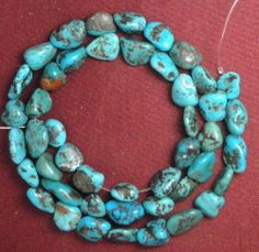 """Turquoise Nugget Beads 16"""" Std All Natural Colors Photos Are Accurate #145"""