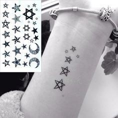 [Visit to Buy] Waterproof Temporary Tattoo Sticker little star moon finger wrist ear bird tatto stickers flash tatoo fake tattoos for women 4 #Advertisement