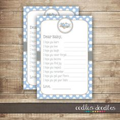 Baby Wishes FillintheBlank Card  /Baby Boy Shower / Dear by OandD