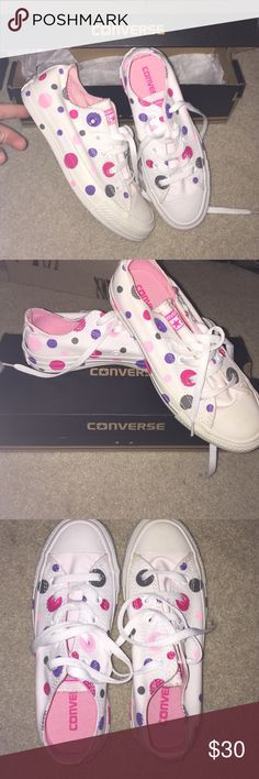 BRAND NEW ! Polka dot converse (never worn) These are brand new out of the store. Have never been worn or even tried on. The insides are 100% clean. The bottoms are 100% clean. & the whole shoe is 100% clean. The insides are pink. The polka dots are green, purple, dark pink and light pink. White laces. Size 6 in women's. Come in converse box. Converse Shoes Sneakers