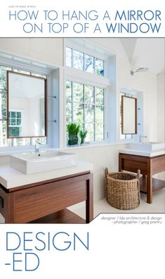 There are several instances when someone would want to hang a mirror in a window. Most of them occur in the bathroom, when there isn't any wall space available and the sink or vanity is right in front of a window. | Visit http://carlaaston.com/designed/hang-mirror-on-window to learn how to hang a mirror over a window.