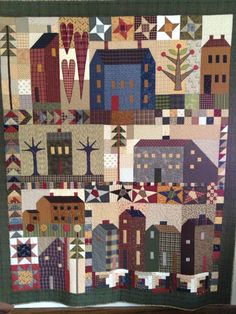 Block of the month pattern - Country quilts Primitive Quilts, Antique Quilts, Primitive Crafts, Vintage Quilts, Country Primitive, House Quilt Block, Quilt Blocks, Star Blocks, Quilting Projects