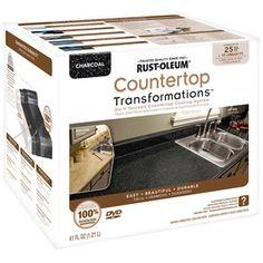 Rust-Oleum Countertop Transformations Charcoal Semi-Gloss Countertop R Farmhouse Style Kitchen, Resurface Countertops, Cheap Countertops, Butcher Block Countertops, Laminate Countertops, Kitchen Countertops, Butcher Blocks, Primitive Kitchen, Cement Counter