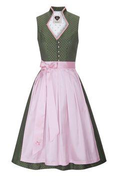 Midi Dirndl 70er grün-rosa Seide Paula 001495 | Dirndl 70er | Dirndl | DAMEN | Moser Trachten + Dirndl - Bayerns größter Trachtenausstatter