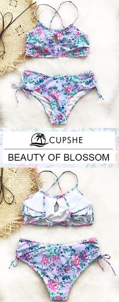 Once again, you deserve this cutest swimsuit at poolside party! This piece features beautiful printing and lace-up design, also tie at bottom at sides. To be the shiniest eye-catcher! Free shipping & Shop now!