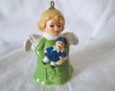 1996 Goebel ANGEL BELL ORNAMENT Green with doll West Germany Signed Miniature