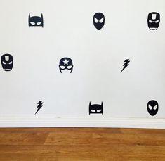 Mixed Superhero Wall Decals Removable vinyl by CandhhandmadeStore Chambre Nolan, Superhero Room, Superhero Superman, Removable Vinyl Wall Decals, Kids Bedroom, Men Bedroom, Bedroom Ideas, Bedroom Decor, Boy Room