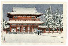 Hasui Kawase détail -Neige au sanctuaire de Heian, Kyoto 1948