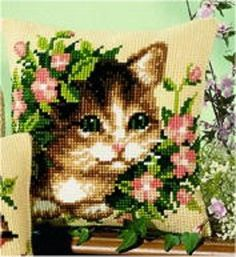 "Vervaco CAT IN FLOWERS Chunky Cross Stitch Cushion Front Kit 16"" x 16"""