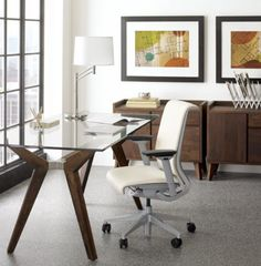White Office Chair. #whiteofficefurniture Modular Home Office Furniture,  White Office Furniture, Office