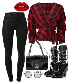 """""""Untitled #876"""" by kriziacouture ❤ liked on Polyvore featuring J Brand, Chanel, Miss Selfridge, Lime Crime, black, red, plaid and patentleather"""