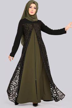 Yakma Detay Ferace MDS2044 Haki Simple Pakistani Dresses, Pakistani Dress Design, Simple Dresses, Pakistani Hair, Abaya Fashion, Muslim Fashion, Fashion Dresses, Estilo Abaya, Kebaya Modern Dress