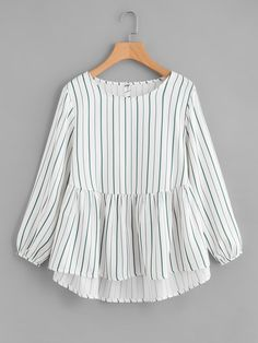 design of blouse Shop Frill Hem High Low Blouse online. SheIn offers Frill Hem High Low Blouse & more to fit your fashionable needs. Teen Fashion Outfits, Trendy Outfits, Cool Outfits, Girl Fashion, Fashion Dresses, Modest Fashion, Woman Outfits, Stylish Dresses, Casual Dresses