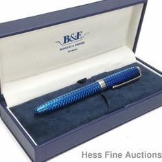 Blue Enamel Guilloche Working Sterling Silver Bossert Erhard Fountain Pen CNX #BossertErhard