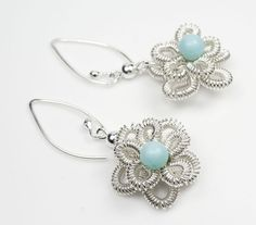 Silver Woven Flower Earrings with Caribbean Larimar Gemstones