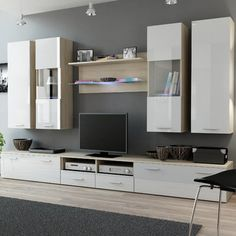 Orren Ellis Cosmo Entertainment Center Finish: Sonoma Oak/White Gloss