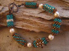 Best Bracelet Perles 2017/ 2018 : Handwoven Peyote Tube Beads Genuine Akoya Pearls Bracelet           FREE SHIPPING USA