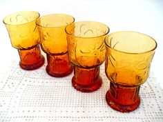 1970's Amber Libbey Glasses Flowers and Vines by InsOddsOuts, $14.99