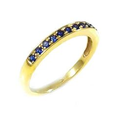 Thisis aband pavering, setwith gemstones Blue Sapphires. The ring is set with 11 gemstones, a natural blue sapphire, round cut, color is Royal Blue, clarity is eye clean or better, average weight carat 0.22.(The ring is available with any kind of diamonds & gemstones, pleasecontact usfor more Information)What's my ring size?>>