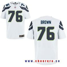17be349c6 Men's Seattle Seahawks #76 Duane Brown White Nike Elite NFL Stitched Jersey