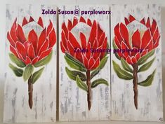 My love for proteas, I created this set to enjoy! Arts And Crafts, Paintings, Canvas, Create, Drawings, Red, Inspiration, Tela, Biblical Inspiration