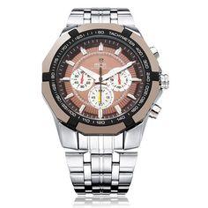Men Watch - WEIDE WH1010 3 Dial Military Stainless Steel Men Wrist Quartz Watch