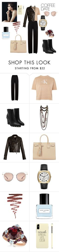 """""""Coffee date"""" by gloriatovizi on Polyvore featuring Temperley London, Calvin Klein, Chanel, The Row, Yves Saint Laurent, Fendi, Marc by Marc Jacobs, Illamasqua, Marc Jacobs and LE VIAN"""